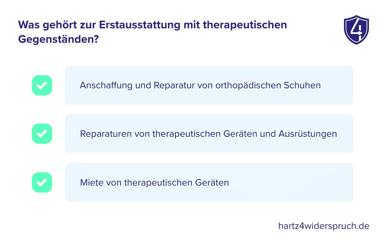 Was gehört zur Erstausstattung mit therapeutischen Gegenständen?